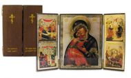 Russian wood icon Virgin of Vladimir & 4 more Triptych