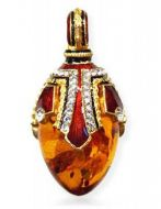 Faberge style amber silver gold  pendant egg