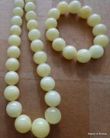 set of 2 ROYAL WHITE Baltic Amber Beads Necklace & bracelet 111.2 GRAMS