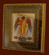 GUARDIAN ANGEL GOLD FRAMED ICON GLASS CRYSTALS