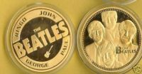 THE BEATLES 24 KT GOLD COMMEMORATIVE COIN NEW