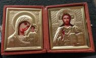 RUSSIAN GOLD DIPTYCH WEDDING or TRAVEL ICON gold plated marvelous beige box