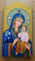 Russian HAND-PAINTED   wood icon Mother of God  Mary the Eternal Bloom