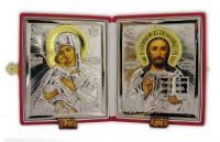 Russian Riza gold DIPTYCH WEDDING  TRAVEL ICON LARGE