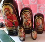 Religious icon RUSSIAN NESTING DOLL 5 PCS 7.2 * VLADIMIR MOTHER OF GOD