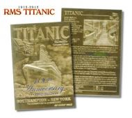 TITANIC 23 KT GOLD BAR TABLET CARD