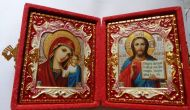 RUSSIAN GOLD DIPTYCH WEDDING or TRAVEL ICON gold plated & enamel in red box