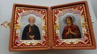 RUSSIAN DIPTYCH WEDDING ICON St Sergey Radonezhsky &Virgin of Extreme Humility