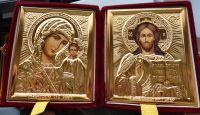 RUSSIAN GOLD DIPTYCH WEDDING or TRAVEL PLUSH red velvet ICON HUGE