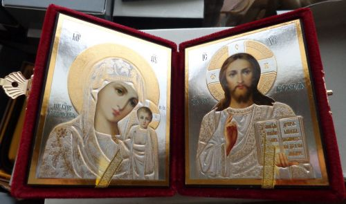 RUSSIAN GOLD DIPTYCH WEDDING or TRAVEL red velvet ICON large