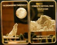 The endangered Timber Wolf bar 1 troy oz 24K gold plated