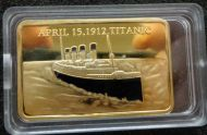 TITANIC 24 KT GOLD  plated bar coin  1 oz