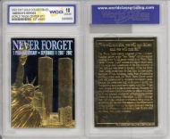 World Trade Center 9/11 23K Gold  bar Card - GEM MINT 10