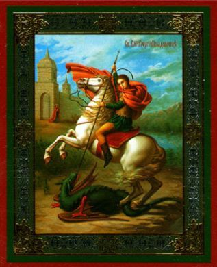 Russian wood icon St George
