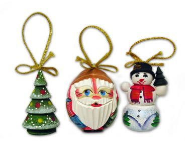 Set of 3 Christmas Ornaments Hand Carved & Hand Painted