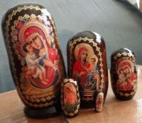 nesting russian wood  religious 5 pcs doll
