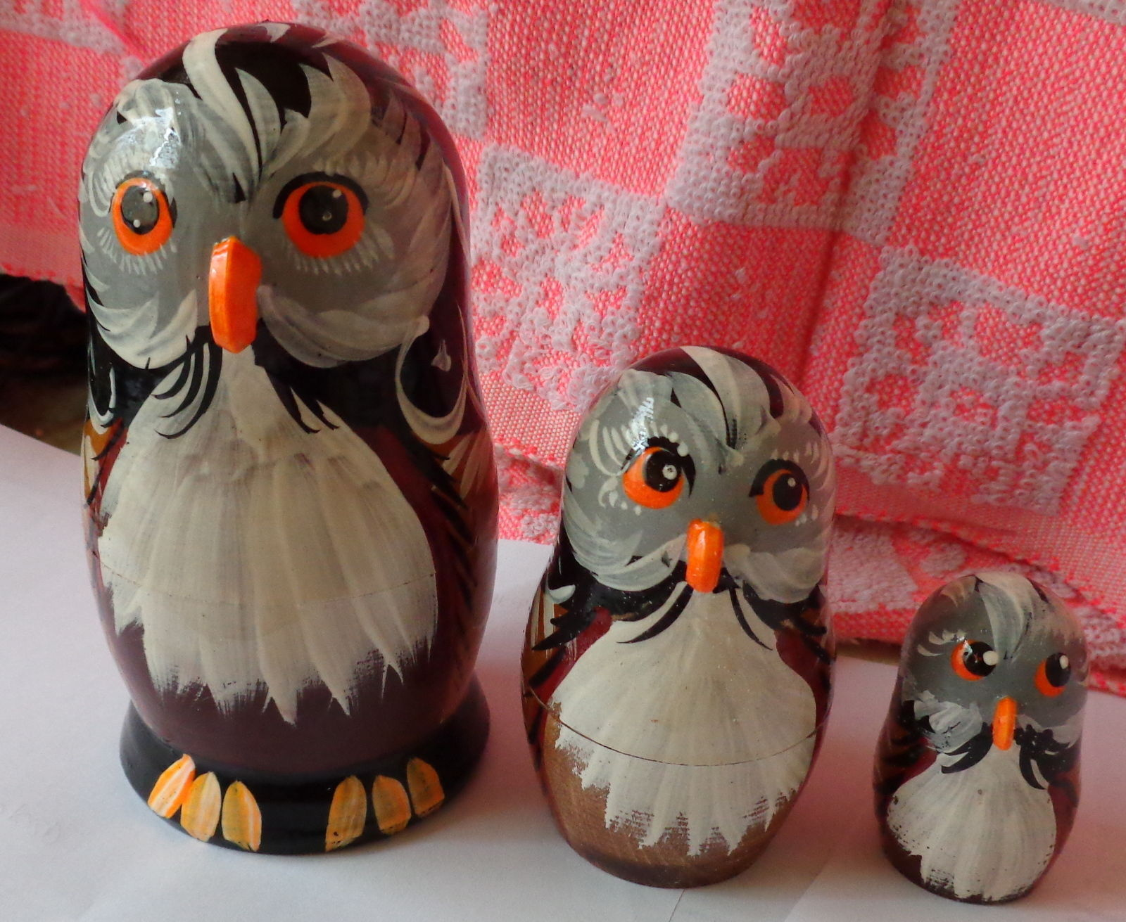 owl wood hand painted russian nesting doll 3 pcs 5 0